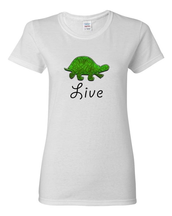 Live turtle women s shirt 0083 spirit west designs for Really cheap custom shirts