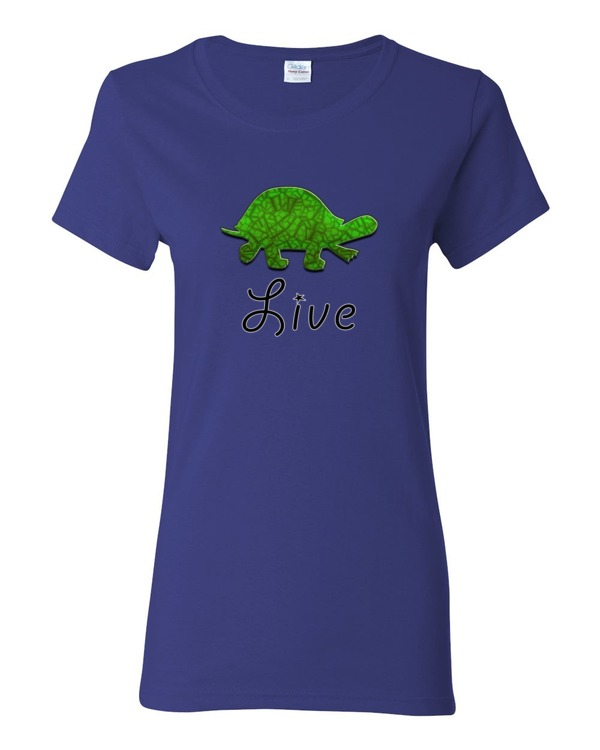 Live turtle women s shirt 0083 spirit west designs for Where can i order custom t shirts