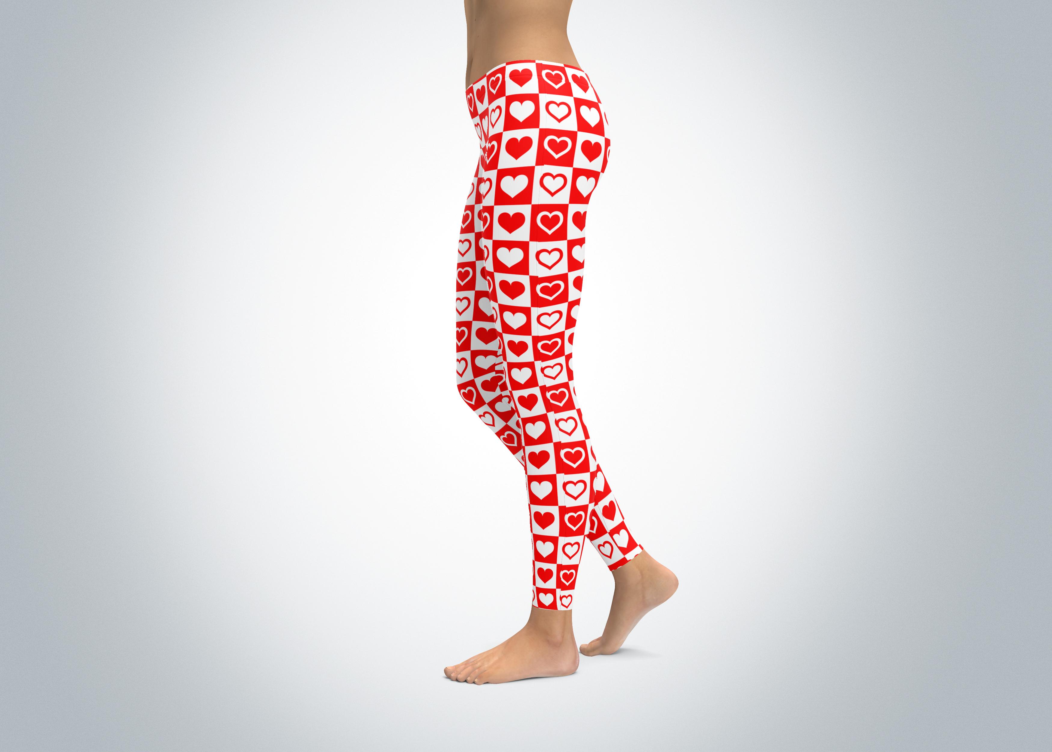 Red And White Heart Leggings Spirit West Designs
